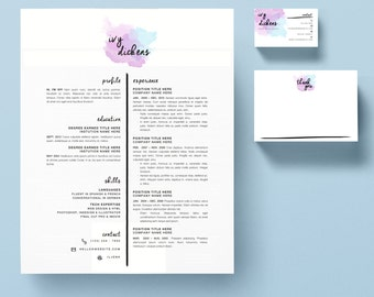 "Resume Template Package | CV Template + Cover Letter + Business Card + Thank You Note for MS Word | Instant Digital Download | The ""Ivy"""