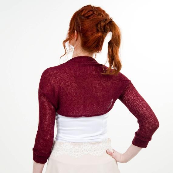 Knitted Shrug Bolero Dress Cover Up Wine red bolero Boho