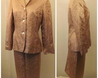 80s Lord & Taylor Silk Brocade Evening Dress Suit Gold Size 4