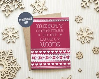 Christmas Card Wife, Scandinavian Christmas Card, Xmas Card For Wife, Personalised Card For Wife, Love Christmas Card, Scandi Pattern  Card