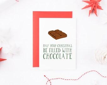 Funny Christmas Card, Chocolate Christmas Card, Food Christmas Card, Funny Xmas Card, Christmas Card, Christmas Card For Him, Card For Her
