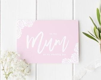 Pretty Wedding Card Mum, To My Mum Wedding Day, Mum Wedding Day Card, Pretty Rose Floral Wedding Card, To My Parents On Wedding Day, Floral