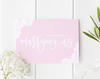 Thank You For Marrying Us, Thankyou Officiant Card, Thank You Wedding Card, Pretty Rose Wedding, Card To Judge, Thank You Officiant Wedding
