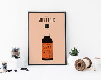 Henderson's Relish Art Print Taste Of Sheffield A4 Poster, South Yorkshire, Hendo's Illustration, Yorkshire Home Decor, Sheffield Sauce