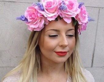 Large Light Pink Purple Lavender Rose Flower Garland Headband Bridesmaid 2725