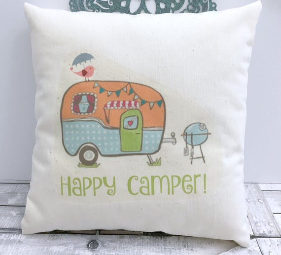 Happy Camper Pillow,Summer Pillow,Spring Pillows,Spring,Vintage Camper Pillow,Retro Camper Pillow,Spring Summer Pillow,Decor for Camper