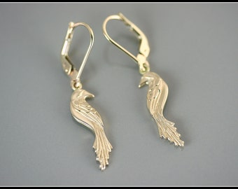 Phoenix jewelry, phoenix earrings, gold bird earrings, 14 k solid gold earrings, symbolic jewelry, original design, gold women earrings