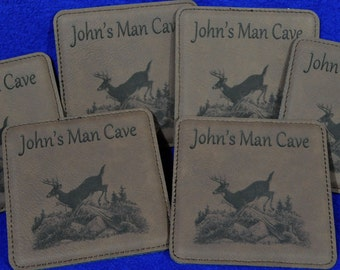 Man Cave Gift ~ Husband Gift ~ Groomsmen Gift ~ Engraved Coasters ~ Leather Coasters ~ Deer Hunter Gifts ~ Hunting ~ Gift For Brother ~ Dad