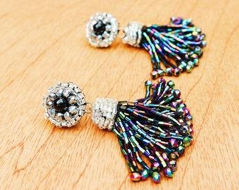Sparkling Black Tassel Earrings, Short Black Beaded Tassel Earrings, Rainbow Black POM POM Earrings, Iridescent Black Tassel Earrings