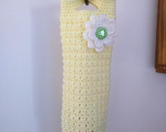 Crochet Plastic Bag Dispenser in Yellow with While Flower and Polka Dot Button