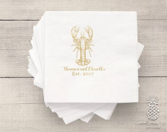 Lobster Party Napkins | Personalized Napkin | Low Country Boil Wedding Napkins
