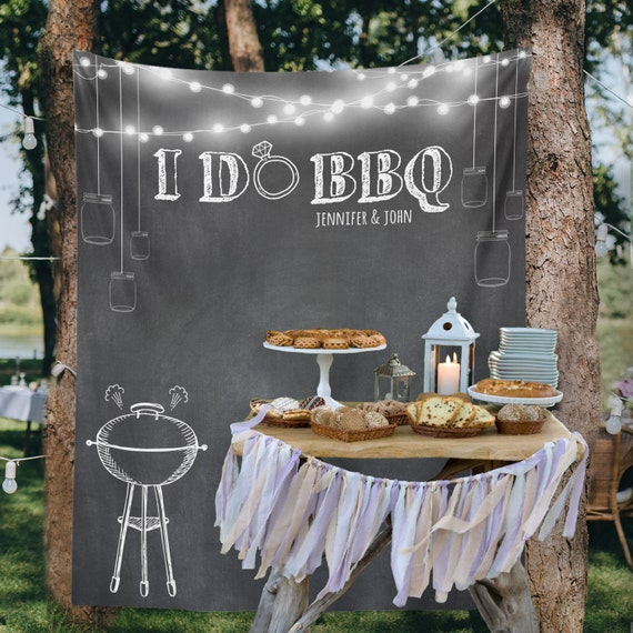 Backyard Wedding, Custom Tapestry, Party Backdrop, Dessert Table Decor, Wedding Backdrop, Wedding Wall, I DO BBQ // W-G20-TP MAR1 AA3