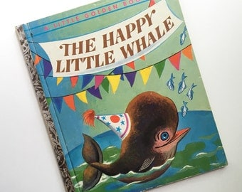 The Happy Little Whale ~ A Little Golden Book illustrated by Tibor Gergely ~ 1960 ~ Two Whales Are Captured but are Happy to Eat Fish & Play
