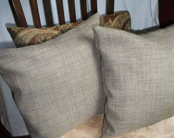 Beige Brown Tweed Accent Pillows, Set of Two, Accent Pillow, 14 x 14
