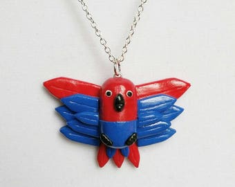 Female Eclectus Parrot Pendant Necklace. Handmade Polymer Clay Wearable Accessory. Handpainted Bird, Animal Gift.