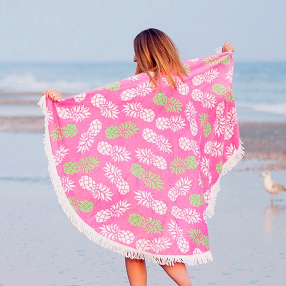 Monogrammed Beach Towel Lounge Chair Cover Personalized Pineapple Fringed Beach Towel Bridesmaids Gifts Summer Weddings Highway12Designs
