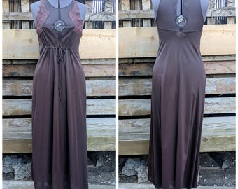 Vintage 1960s 70s Short Brown Small Lace and Nylon Slip New Never Worn Dead Stock