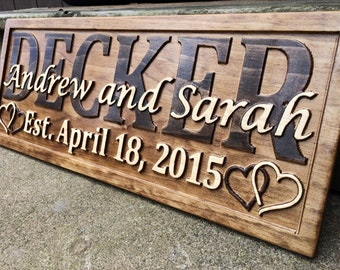 Personalized Wedding Gift Personalized Sign Couple Gift Last Name Established Sign Family Name Sign Custom Wood Sign 5 Year Anniversary Gift