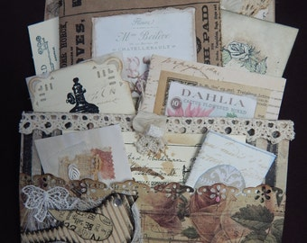 Loaded Envelope with 5 Mini Journals and Ephemera; Perfect Gift for the person that Journals