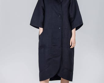 Black linen dress / Oversized pocket black woman's dress / Knee length coat dress / Summer black pocket shapeless dress / Fasada 1790