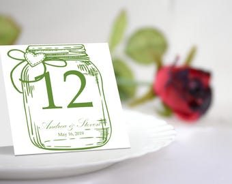 Green Mason Jar Table Number Tent Template. Editable Colors & Text. Instant Download.