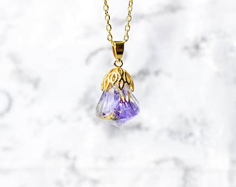 real flower necklace terrarium jewelry resin necklace romantic gifts/for/her purple crystal necklace wife gifts diamond necklace Pю41