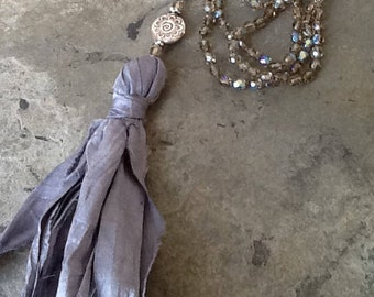 Knotted Silvery Brown Czech beads with Sari Silk Tassel Long Necklace