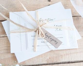 Wedding invitations UK, shipping worldwide, invitation set - kraft, pearlescent, textured or gold shimmer. Deposit to get started. 'Lanes'