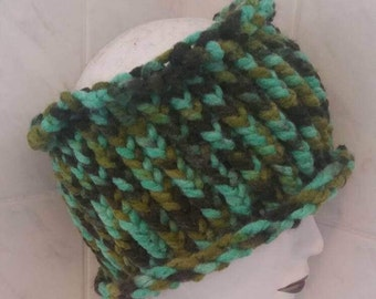 Green brown dreadlock tube headband