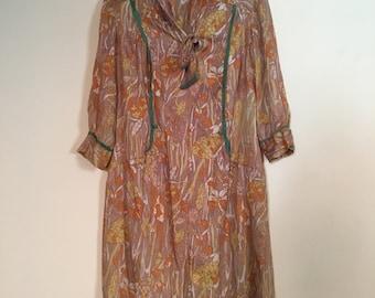 Vintage 1920s Floral Dress - Classic 20s Style Silk Dress - Tie Collar Dress