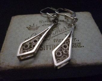 "Vintage sterling silver earrings - 925 - Unique - 2"" drop"