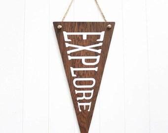 Explore Wooden Flag. Wall Pennant. Wall Hanging. Rustic Sign. Banner. Wanderlust. Dorm Decor. Travel Gift. Wall Art