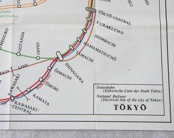 1974 Tokyo Japan Vintagev Railway Map