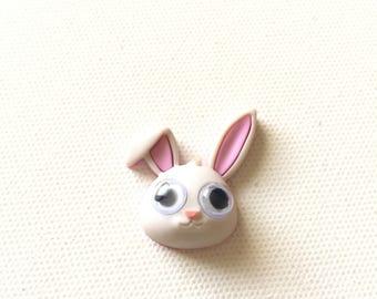 Bunny Pin, White Bunny Pin, Rabbit Pin, Bunny Tie Tack, Big Eyed Bunny Pin, Googly Eyes