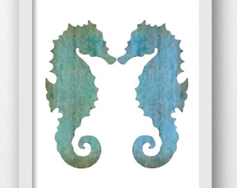 Seahorse Prints, Marine Art, Beach Decor Digital Download Print, Watercolor Digital Download Seahorse, Mottled Teals and Blues Seahorse