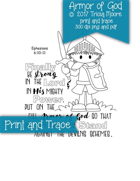 Armadura de Dios impresión y página para colorear de rastro Biblia ...