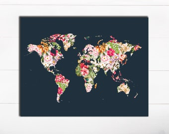 PRINTABLE Art Typography Art Print Floral World Map Art Print World Map Print Travel art Print Travel Wall Art Floral Wall Art Tropical map