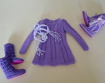 Knitted dress - tunic and scarf  for minifee,slim msd, 1/4 bjd doll.