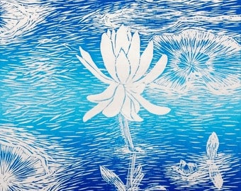 Linocut print, Blue art print, water lily pad, wall prints, lino cut, Handmade paper, Lake art, Lake pictures, New Forest, Hampshire