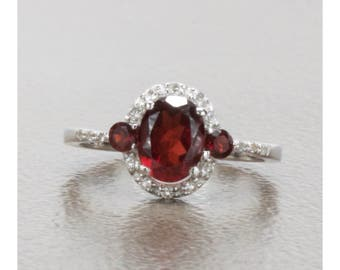 1.60 Carat. Natural Almandine Garnet And White Topaz Sterling Silver Ring, Anniversary Ring, Promise Ring, Engagement Ring