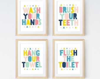 Bathroom art set, Kids bathroom sets, Printable art, Wash your hands, Brush your teeth, Bathroom wall art, Colorful bathroom, Bathroom rules
