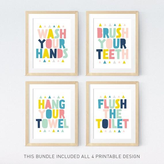 Bathroom Art Set Kids Bathroom Sets Printable Art Wash Your Hands Brush Your Teeth Bathroom Wall Art Colorful Bathroom Bathroom Rules