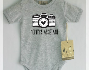 Cute baby clothes with camera print. Mommy's Assistant camera print baby clothes. Cute baby girl or boy clothes.