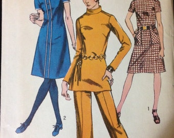 Simplicity 9063 - 1970s Dress or Tunic with Stand Up Collar and Pants - Size 14 Bust 36