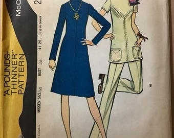 McCalls 2952 - Pounds Thinner Dress or Tunic with Pointed Yokes and Pants - Size 14 Bust 36