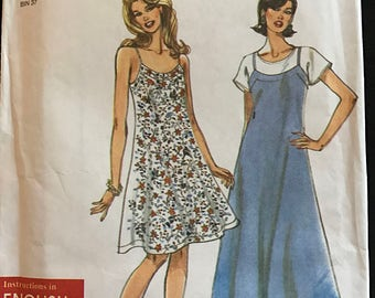 Simplicity 7185 - Easy A Line Dress or Jumper in Knee or Midi Length - Size 8 10 12 14 16 18