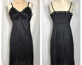 Vassarette Black Nylon Full Slip with Lace Trimmed Bodice and Hem - Size Bust 38