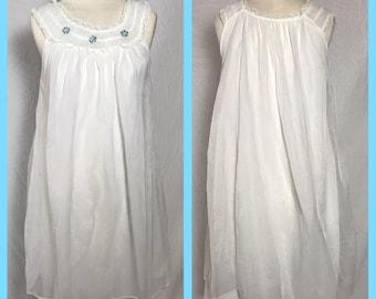 1960s Chiffon over Nylon Baby Doll Nightgown with Band Yoke Collar - Size Medium