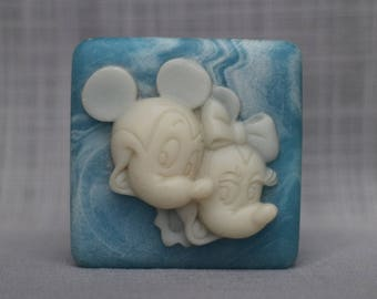 Vintage Disney Trinket Box, Blue Incolay Mickey and Minnie Mouse, Cameo Blue Alabaster Style Disney Box