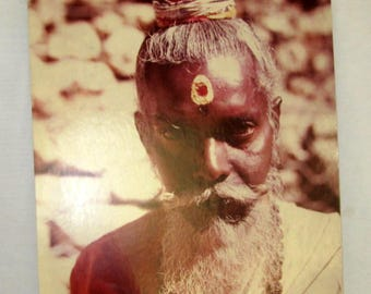 Original Colored Photograph-Ethnographic Portrait of a Soulful Hindu Sadhu of India by Bernard Levere